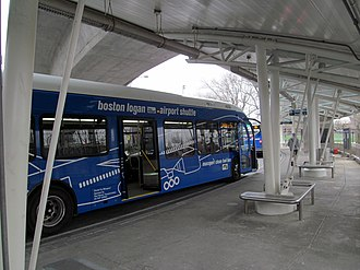 Airport (MBTA station) - A Massport shuttle bus at Airport Station