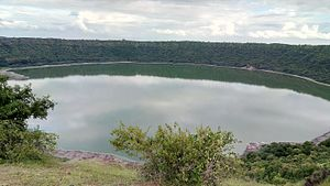 Lonar crater lake - Lonar crater full rim view