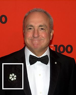 Order of Canada - Lorne Michaels wearing a Member's lapel pin during a formal event