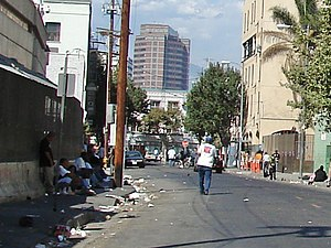 Skid Row, Los Angeles - San Julian Street south of 5th, part of the Skid Row area