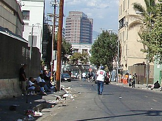Skid Row, Los Angeles - San Julian Street south of 5th Street