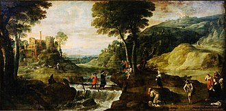 Ivo of Kermartin - Landscape with the preaching of Saint Ivo, by Lucas van Uden