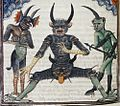 Lucifer waiting for the Last Judgement Livre de la Vigne nostre Seigneur f. 067v 1450-1470.jpg