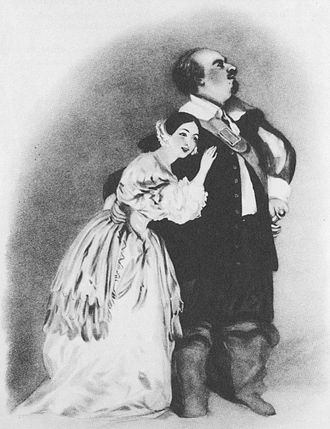 Luigi Lablache - Giulia Grisi as Elvira and Luigi Lablache as Sir Giorgio in Bellini's I puritani at The King's Theatre in London, 1835