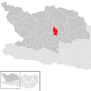 Location of the municipality of Lurnfeld in the Spittal an der Drau district (clickable map)