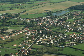 An aerial view of Lusigny