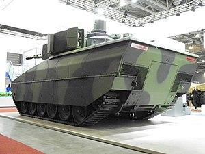 Lynx (Rheinmetall armoured fighting vehicle) - Image: Lynx rear at IDET 2017