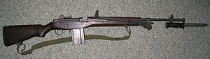 Springfield Armory M1A - A Springfield M1A with bipod and M6 bayonet