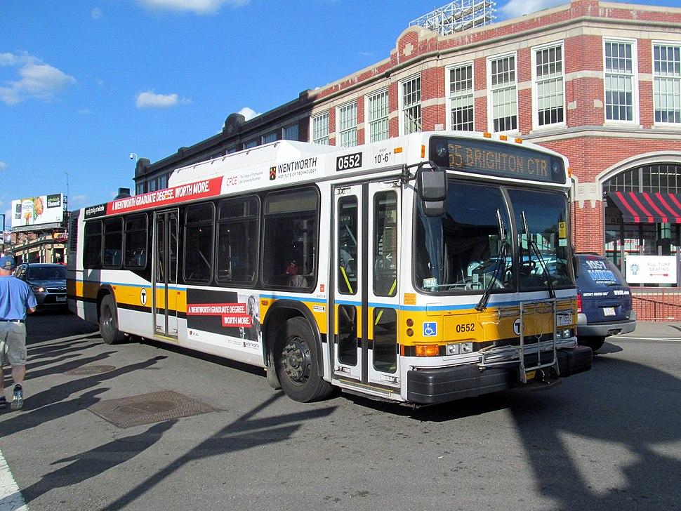 MBTA route 65 bus passing Yawkey Way, August 2016