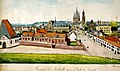 Maastricht, gezicht vanaf stadswal nabij St-Servaasbolwerk met Jekermanège, Jekerkazerne, Kruisherenklooster, St-Servaaskerk en klooster Calvariënberg.jpg
