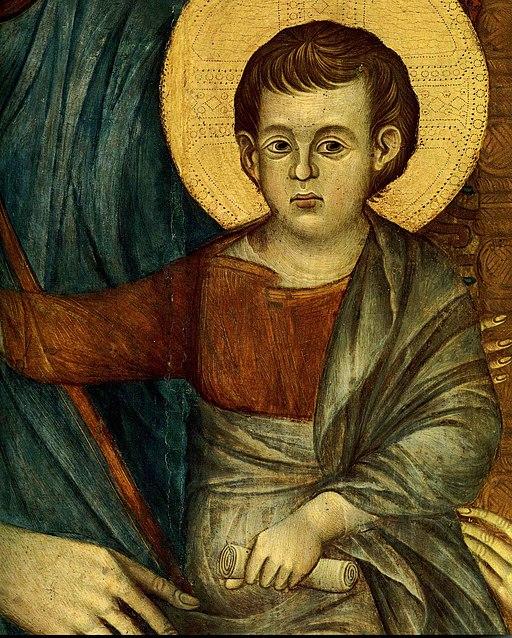 Maestà del Louvre, dettaglio del Bambino