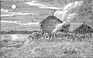 Civil war era in Norway - Erling Skakke burns the house of a supporter of Sigurd Markusfostre   as imagined by artist Wilhelm Wetlesen in the 1899 edition of Heimskringla