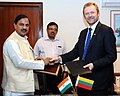 Mahesh Sharma and the Minister of Culture, Lithuania, Mr. Sarunas Birutis exchanging the signed agreement, in New Delhi.jpg