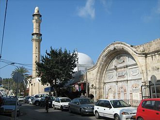 Mahmoudiya Mosque - View of the mosque from a Jaffa street