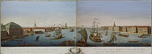 Makhayev, Kachalov - View of Neva Downstream between Winter Palace and Academy of Sciences 1753.jpg