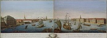 Engraving: Saint Petersburg and Neva (1753)
