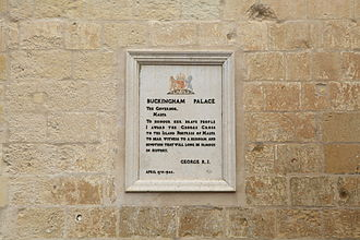 Award of the George Cross to Malta - Plaque on the Grandmaster's Palace in Valletta inscribed with George VI's letter.