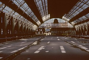 Manchester Central Convention Complex - The interior of the derelict station before its renovation in 1982.