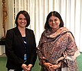 Maneka Sanjay Gandhi in a bilateral meeting with the Family and Youth Affairs of the State Secretariat Minister, Hungary, Ms. Novak Katalin, on the sidelines of the 60th Session of the UN Commission on Status of Women.jpg