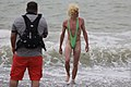 Mankini Borat style on the beach - walking man facing a photographer.jpg