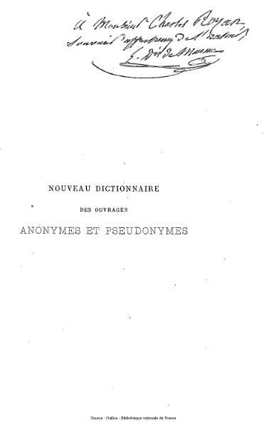 File:Manne - Nouveau Dictionnaire des ouvrages anonymes et pseudonymes, 3e édition.djvu