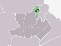 The village centre (dark green) and the statistical district (light green) of Opperdoes in the municipality of Medemblik.