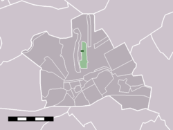"The town centre of Kanis (dark-green) and the statistical district ""Kamerik and Kanis"" (light green) in the municipality of Woerden."