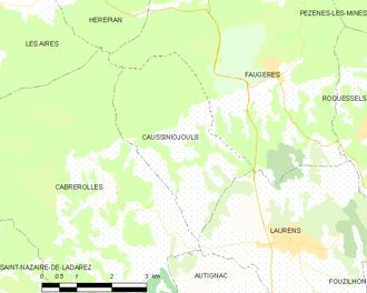 Caussiniojouls - Map