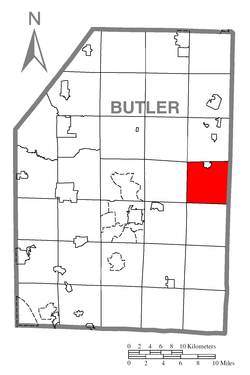 Map of Butler County, Pennsylvania highlighting Donegal Township