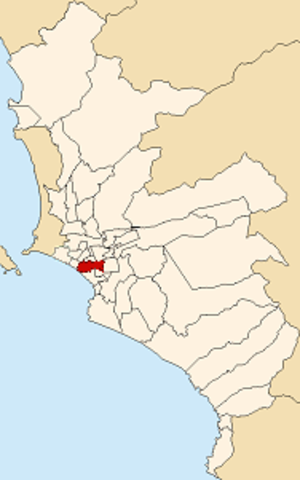 San Isidro District, Lima - Image: Map of Lima highlighting San Isidro