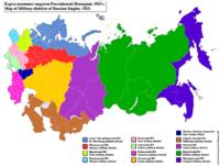 Карта военных округов 1913 г