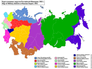 Military districts of the Russian Empire - Image: Map of Military Districts of Russian Empire 1913