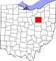 Map of Ohio highlighting Wayne County.svg