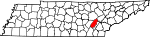 State map highlighting Rhea County