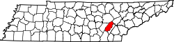 Map of Tennessee highlighting Rhea County.svg