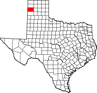 Map of Texas highlighting Oldham County