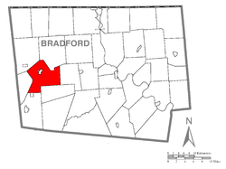 Map of Bradford County with Troy Township highlighted