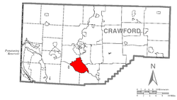 Location of Union Township in Crawford County