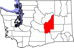 map of Washington highlighting Grant County