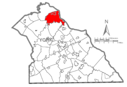 Map of York County, Pennsylvania highlighting Newberry Township