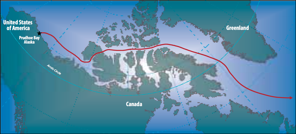 Map of the route followed by by the SS Manhattan to traverse the Northwest Passage