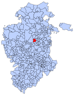 Municipal location of Monasterio de Rodilla in Burgos province