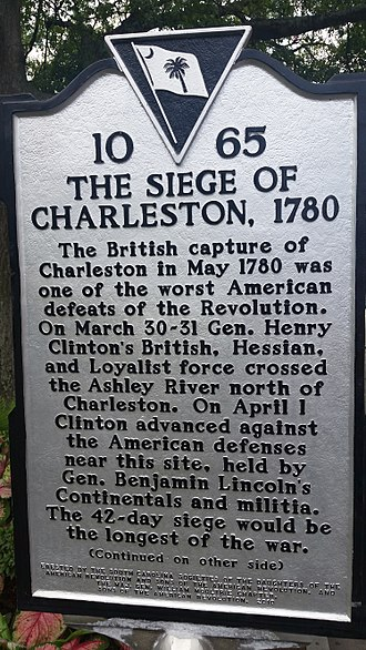 Marion Square - Marion Square historical marker for the Siege of Charleston.  The center of the defensive works was called the hornwork, the inner wall consisting of a two foot thick wall constructed of lime and oyster shells.  Two ditches were in front of the wall, and 93 cannon were mounted along the works.