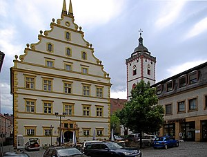 Marktbreit - Schloss Marktbreit with St. Nicolai on the right