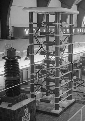 Marx generator - Marx generator at utility trade fair, Leipzig, East Germany, 1954