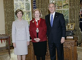 Mary Ann Glendon - President George W. Bush and Laura Bush stand with 2005 National Humanities Medal recipient Mary Ann Glendon.
