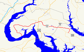 A map of southern Maryland showing major roads.  Maryland Route 6 runs from southwestern Charles County to northeastern St. Mary's County