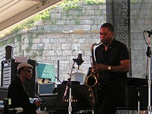 Ravi Coltrane (right) and McCoy Tyner performing at the Newport Jazz Festival on August 13, 2005