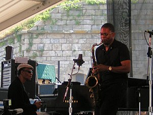 Ravi Coltrane - McCoy Tyner (left) and Ravi Coltrane performing at the Newport Jazz Festival on August 13, 2005