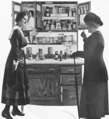 Old drawing of two woman admiring a kitchen cabinet